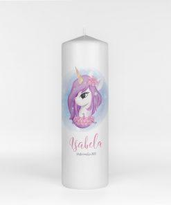 Lumanare botez Purple Unicorn