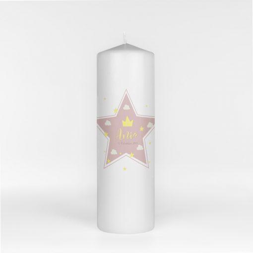 Lumanare de Botez Pink Star