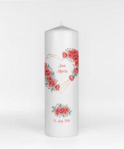 Lumanare de botez Poppy Flowers
