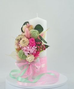 lumanare botez nemuritoare cu hortensie stabilizata roz