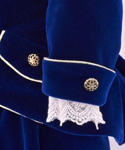 costum botez print albastru, din catifea, cu bascuta si botosei