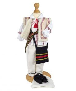 costum national botez 7 piese pentru baieti, cu ie, bundita, itari, traista, cingatoare si opinci
