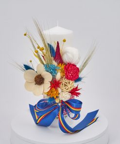 lumanare botez traditionala flori nemuritoare