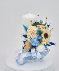 Lumanare Botez Flori Nemuritoare Bleu