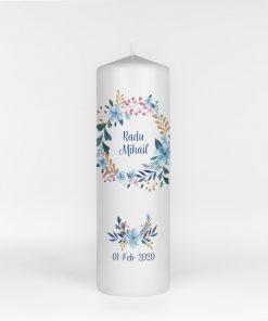 Lumanare Botez imprimata Flori Albastre