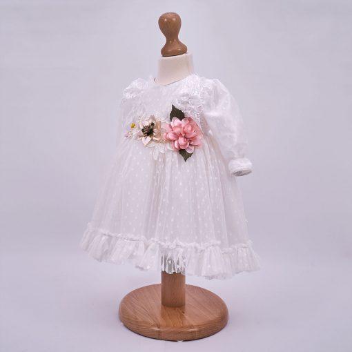 rochita botez din tulle fin cu buline din catifea