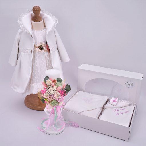 trusou botez fetite cu rochita, trusou biserica si lumanare florala
