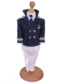 Costum botez marinar cu cravata si bereta