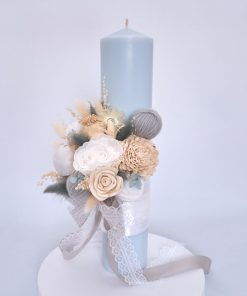 lumanare de botez bleu 35cm flori nemuritoare