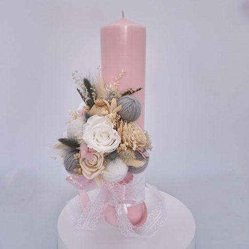 lumanare de botez roz 35cm flori nemuritoare