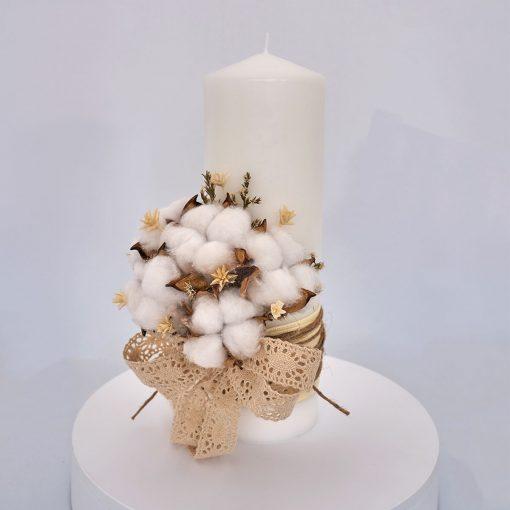 lumanare botez flori bumbac