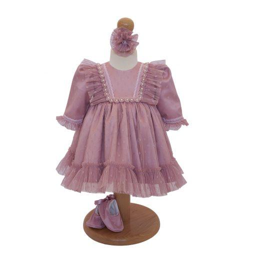 Rochita botez roz vintage