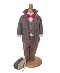 Costum botez baieti cu palton din lana maro