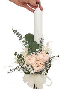 lumanare botez eucalipt si trandafiri