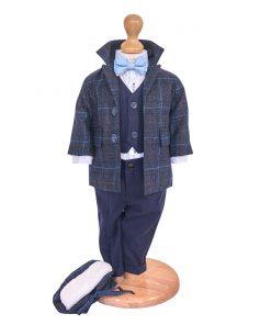 costum botez toamna iarna din lana, cu palton